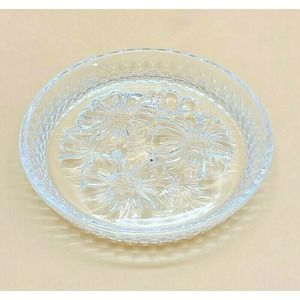 Lead Crystal Clear Glass Floral Coasters Ashtrays